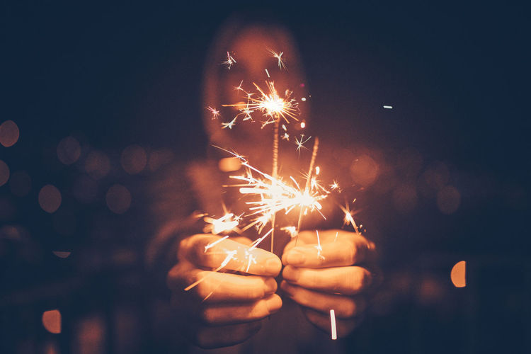 Close-up of sparklers