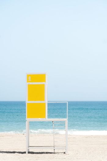 Lifeguard Hut At Beach Against Clear Sky