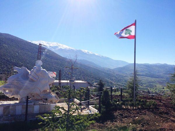 Rachaya Haramon Mountains Trees Nature Snow ❄ Lebanese Flag Sculpture Garden Lebanon