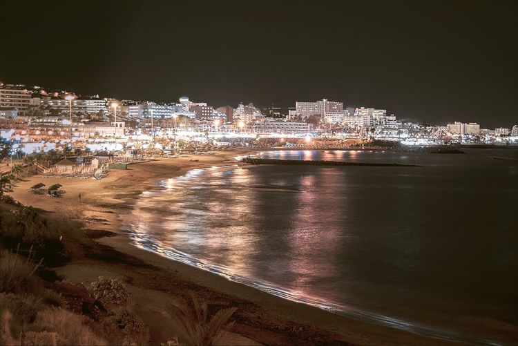 Puerto Colon Beach at night Architecture Building Exterior Built Structure Night City Sea Cityscape Illuminated No People Outdoors Water Sky Beach Nature Long Exposure SPAIN Tennerifa Tranquility Been There.