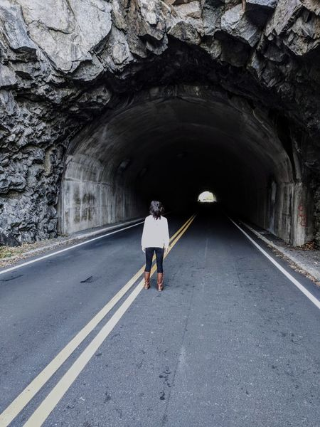Road Full Length Tunnel One Person Rear View Street One Woman Only Transportation The Way Forward Adult Only Women People Day Women Outdoors
