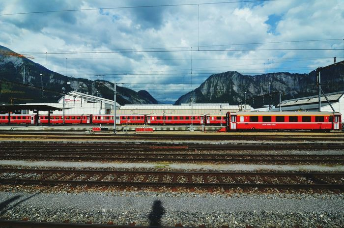 Switzerland Touring Switzerland Red Train Train Station Train Tracks Railway Mountain View Landscape