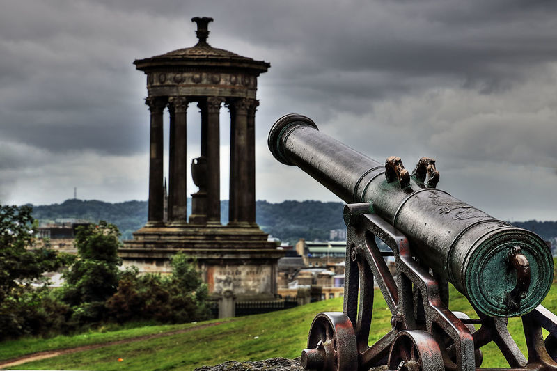 Calton Hill, Edinburgh Calton Hill Edinburgh Aim Ancient Architecture Built Structure Canon Cloud - Sky Dugald Stewart Monument History No People Outdoors Sky Tourism