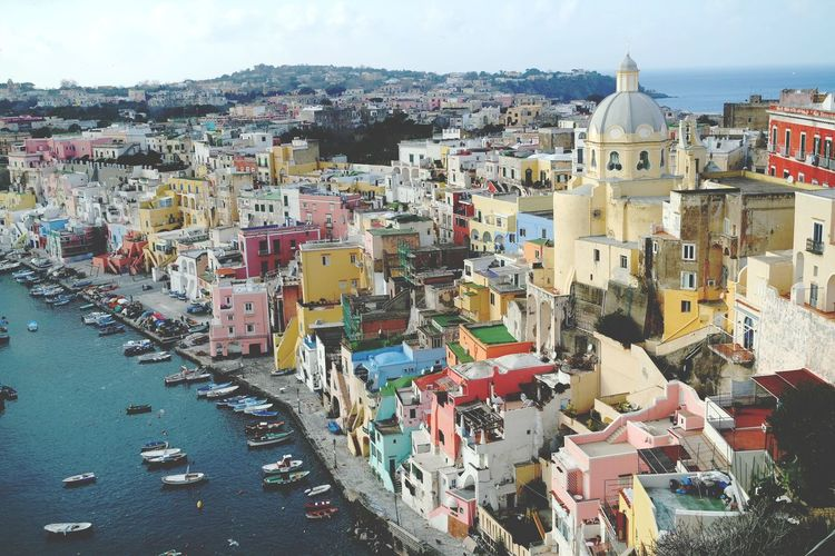 Aerial view of procida waterfront