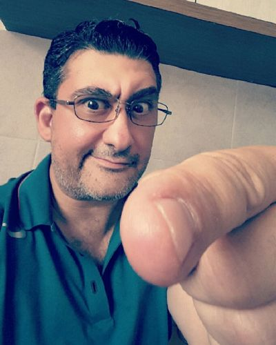 Glasses Color Real People Vertical Wackyface Human Finger Pointing Fingers Finger Funny Face Color Photography