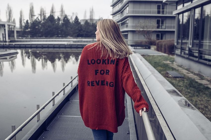 Rear View Real People One Person Winter Bridge - Man Made Structure Built Structure Day Politics And Government Young Adult Adults Only One Woman Only Warm Clothing Adult Blond Hair Only Women Architecture Women Outdoors People