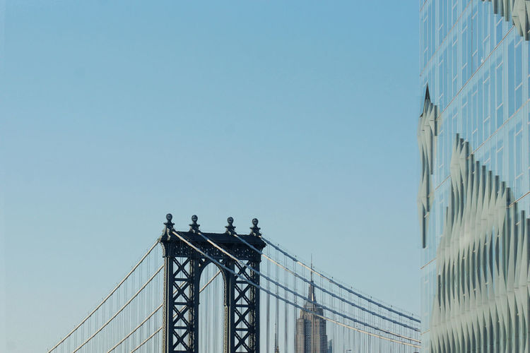 High section of manhattan bridge against clear sky
