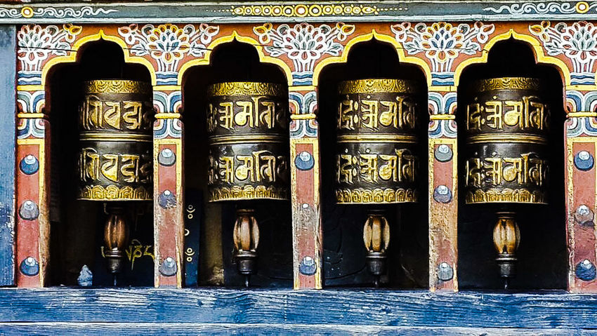 Prayer Wheel Bhutanese Culture Bhutanese Architecture Tourism Tourist Attraction  Tourist Destination Close-up Religious Architecture Religious Icons EyeEmNewHere Eye4photography  Eyeemphotography Eye For Photography Religious Architecture Ornate Architecture Travel Destinations Ancient Day Built Structure Place Of Worship Spirituality No People Close-up