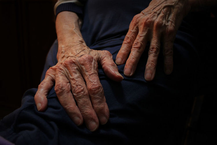 Close-Up Of Woman Hands Against Black Background