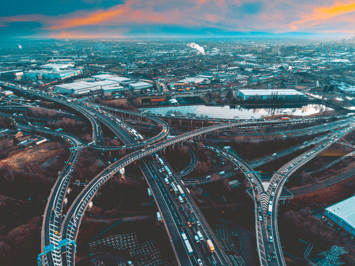 Busy Cars Drone  Aerial Architecture City Illuminated Long Exposure Motorway New Years Eve Newyearseve Outdoors Sunset