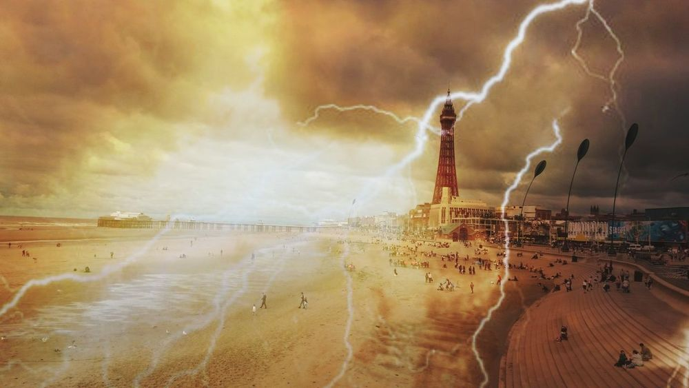 Lightning Environment Power In Nature Thunderstorm Storm Sand Outdoors Landscape Forked Lightning Moody Sky Atmospheric Mood Blackpool Seafront Landscape Blackpool Tower Blackpool Beach Storm Cloud Travel Destinations Playing With Effects