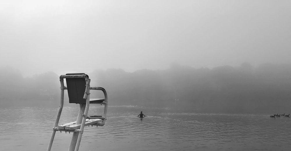 Mountain lakes Mountainlake Blackandwhite Training Swim Swimming Water Fog Sea Sky Nature Scenics - Nature Waterfront Day Beauty In Nature Tranquil Scene Non-urban Scene Tranquility EyeEmNewHere A New Beginning
