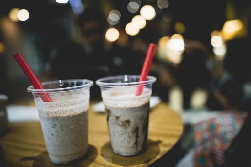 Milkshakes on table in restaurant