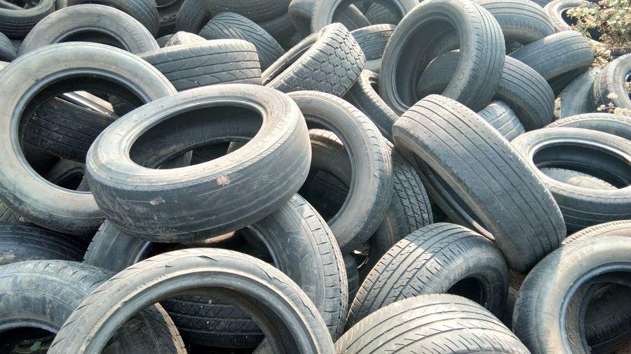 Full frame shot of tires on field