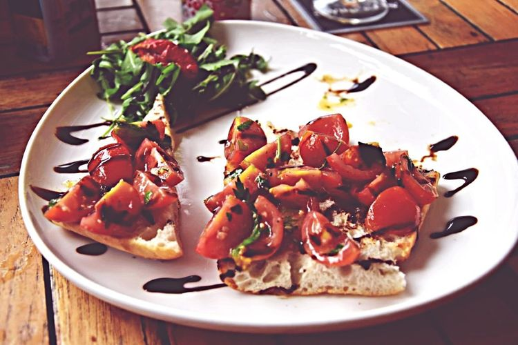 My World Of Food Cherry Tomatoes Balsamico Tradizionale Fresh Backed Ciabatta Bread Freshly Tasty Vegetarian my Number one food... Mixed Flavor With A Sniff Of Italian Spices Simply....but So Jammy... Getting Hungry Right Now..