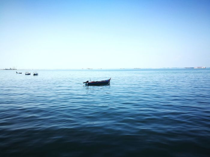 人海茫茫.. Water Nautical Vessel Sea Clear Sky Blue Floating On Water Fishing Sky Horizon Over Water