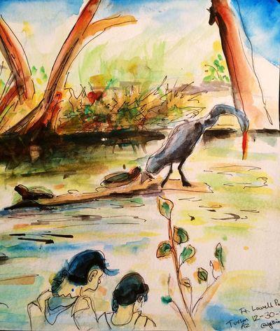 Egret at the lake. Art, Drawing, Creativity Drawingaday