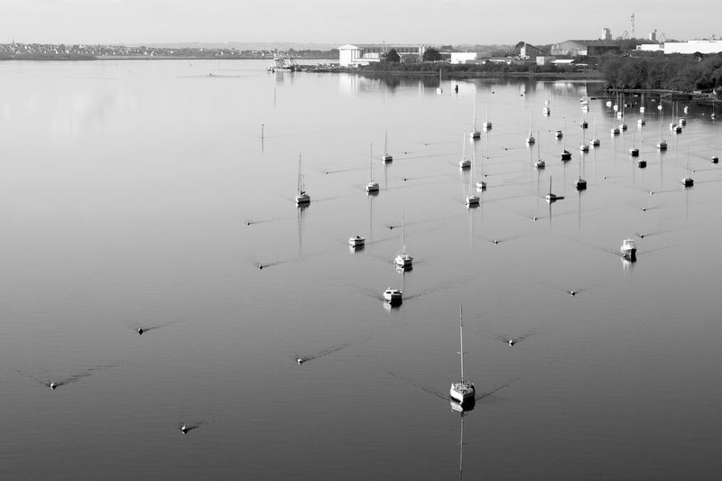 High angle view of sailboats in water