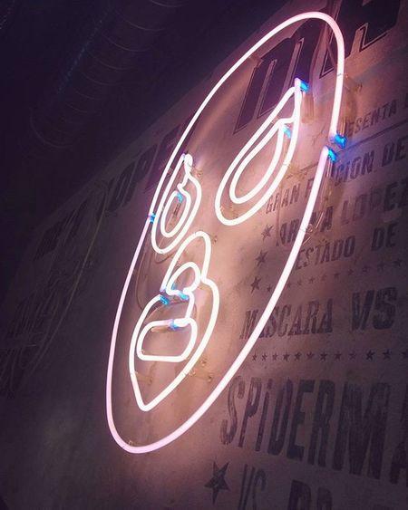 Great and Nice Neonlight Neon Decoration of a Luchador Mask in LaTaqueria Mexican Restaurant . Munich München Bayern Bavaria Deutschland Germany . Taken by my Google LG  Nexus5 . ديكور نيون مطعم  مكسيكي ميونخ بافاريا المانيا