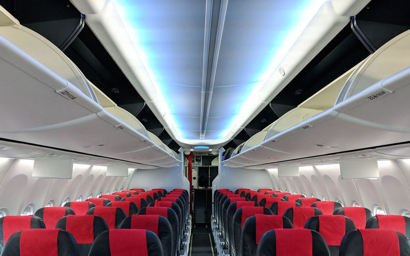 Empty interior of modern airplane
