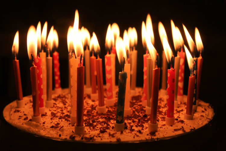 Happy Birthday Happy Birthday Birthday Birthday Candles Burning Cake Candle Close-up Dark Dessert Event Fire Fire - Natural Phenomenon Flame Food And Drink Glowing Heat - Temperature Illuminated Indoors  Large Group Of Objects Melting No People Sweet Sweet Food Temptation Trifle