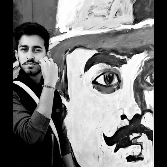 Fan Of Bhagat Singh , the great young Indian revolutionary who sacrified his live at a very young age for country One Person Looking At Camera Face Paint Portrait Bhagat Singh