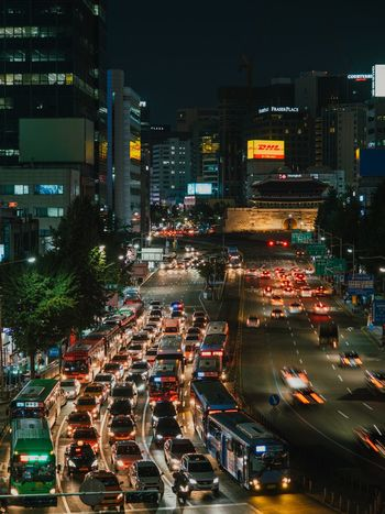 Seoul-korea EyeEm Best Shots VSCO Vscocam Photography Olympus Korea Seoul Traffic Transportation Night Car Illuminated City Architecture