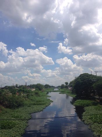 Good sunday!! Sky And Clouds River View Blue Sky Green Grass