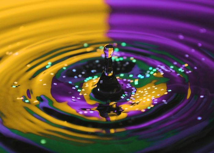 A Glittery Surprise Drop Splashing Water Splashing Droplet Close-up Multi Colored Rippled Concentric Nature Simplicity Purity Motion Freshness Backgrounds No People Impact Beauty In Nature Fragility Day