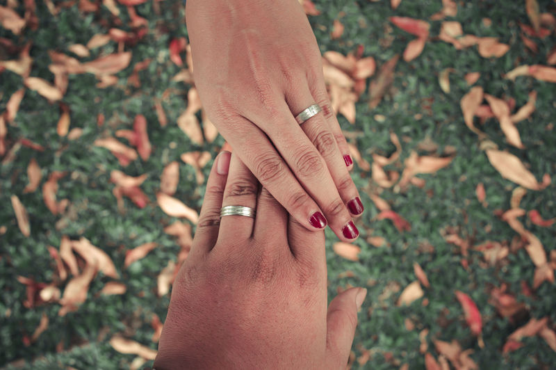 Cropped image of couple wearing wedding rings over field
