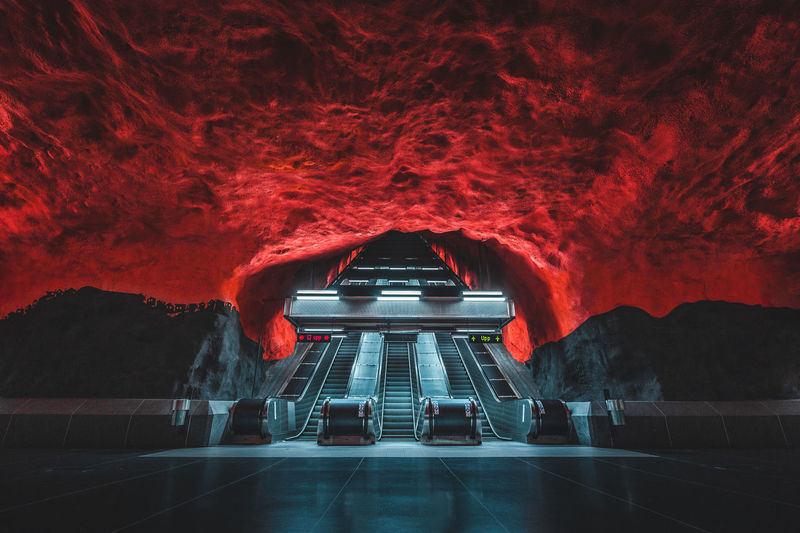 View of illuminated tunnel at night