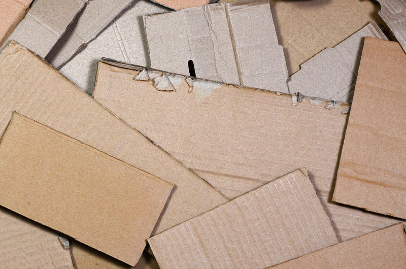 High angle view of cardboard