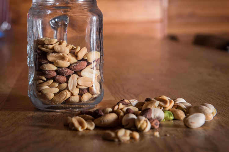 Nuts in a Jar Bench Nuts Peanuts Indoors  Jar Nut Pistachio Wood - Material