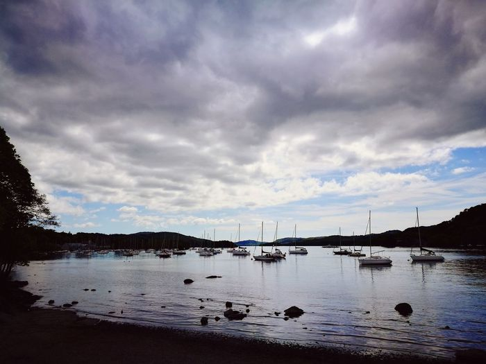 Yachts Yacht Stalling Boats Boats Blue Lake Windermere Lake Water Reflection Clouds May Blue Landscape Cumbria Uk High Contrast Huawei p9 Holiday