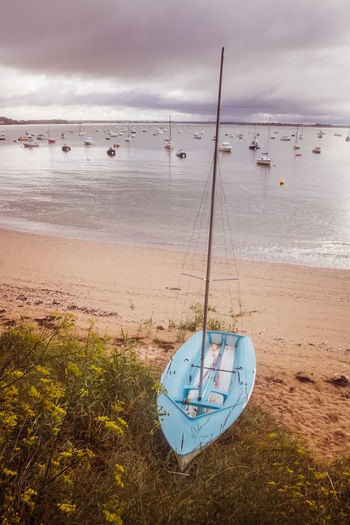 Bretagne Brittany Beach Beauty In Nature Cloud - Sky Day Horizon Horizon Over Water Land Landscape Mode Of Transportation Nature Nautical Vessel No People Outdoors Sailboat Sand Scenics - Nature Sea Sky Summer Tranquil Scene Tranquility Transportation Water