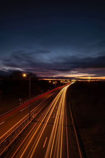 Dusk Traffic Speed Motion Movement Moving Traffic Traffic Flow Car Lights Long Exposure Traffic Motorway Dusk Illuminated Light Trail Road Long Exposure Transportation Motion Speed Street Highway Traffic Direction Tail Light