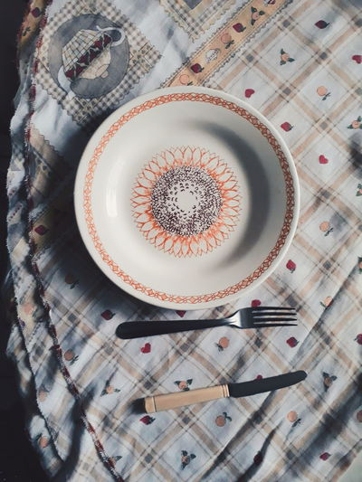 EyeEm Selects Plate Tablecloth Textile Table High Angle View Directly Above Close-up