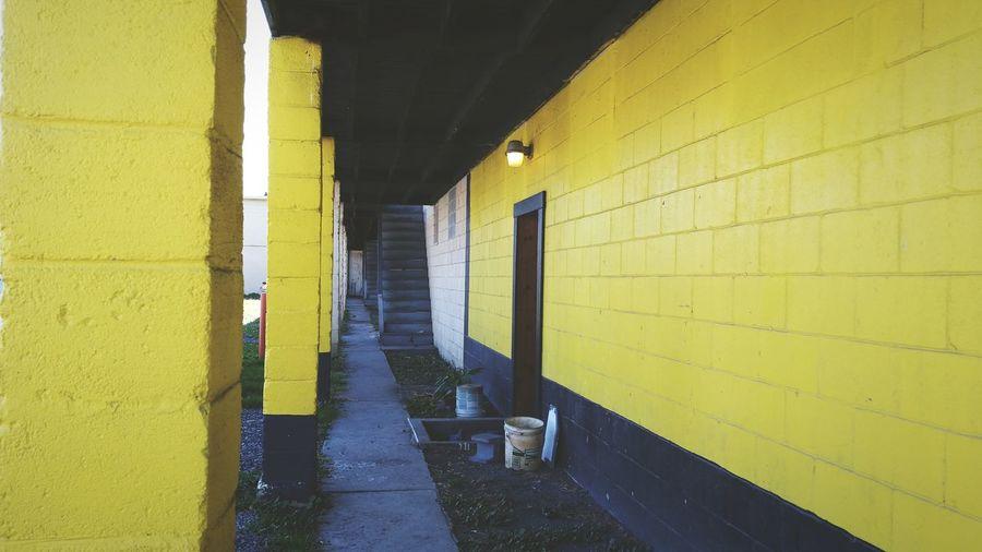 View of yellow corridor
