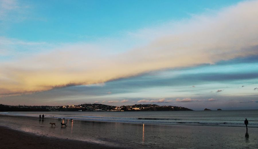 Cloud - Sky Sky Sunset Travel Destinations Outdoors Beauty In Nature Beach Dramatic Sky Water Sea Tranquility Scenics Nature Tranquil Scene Reflections Devon UK Reflections In The Water Paignton Dusk