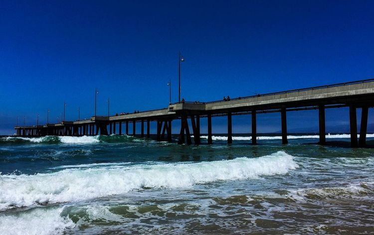 Bridge - Man Made Structure Connection Architecture Built Structure Clear Sky Water Blue Copy Space No People Outdoors Day Sea Wave Nature Sky Pier Ocean California Venice Beach Venice Pier Pacific Ocean California Dreamin