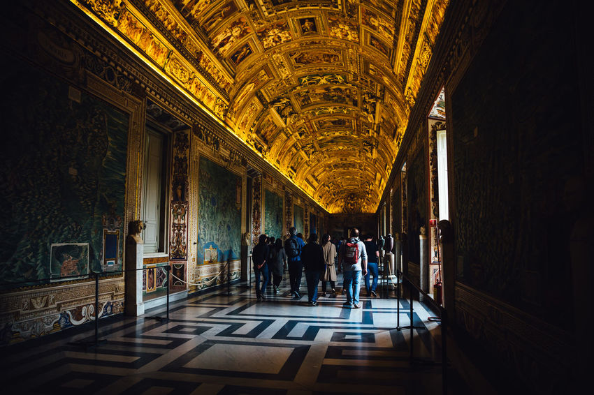 Rome Travel Architecture Built Structure Indoors  Lifestyles Light And Shadow Maps Museum Painting Real People Tourism Travel Destinations vanishing point Vatican Museum