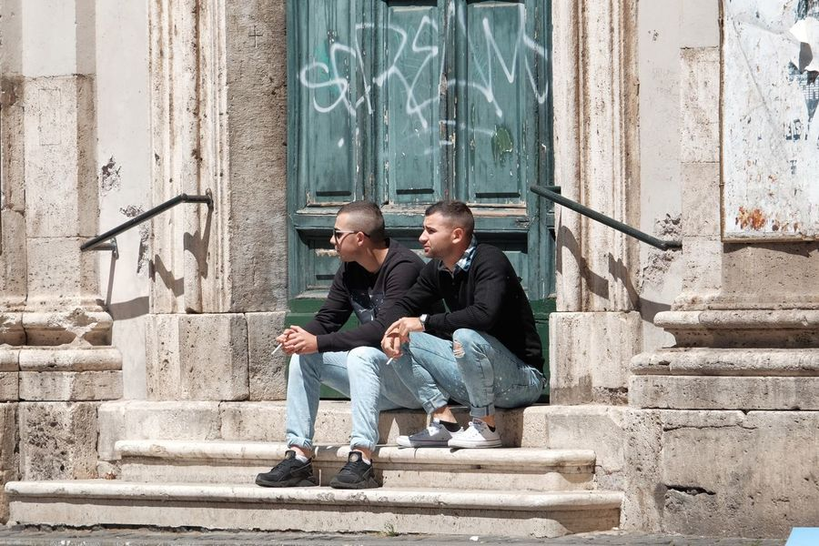 Streetphotography Streetphoto_color Two People Day Steps Outdoors Boys Building Exterior Built Structure Friendship People Child City Childhood Togetherness Full Length Adult Architecture Only Men Young Adult