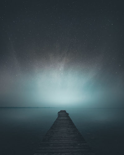 Astronomy Beauty In Nature Direction Gardalake Horizon Horizon Over Water Idyllic Nature Night No People Pier Scenics - Nature Sky Space Star - Space The Way Forward Tranquil Scene Tranquility Water