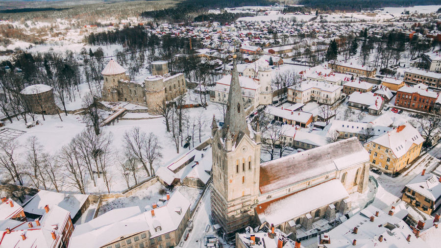 High angle view of crowd in city during winter