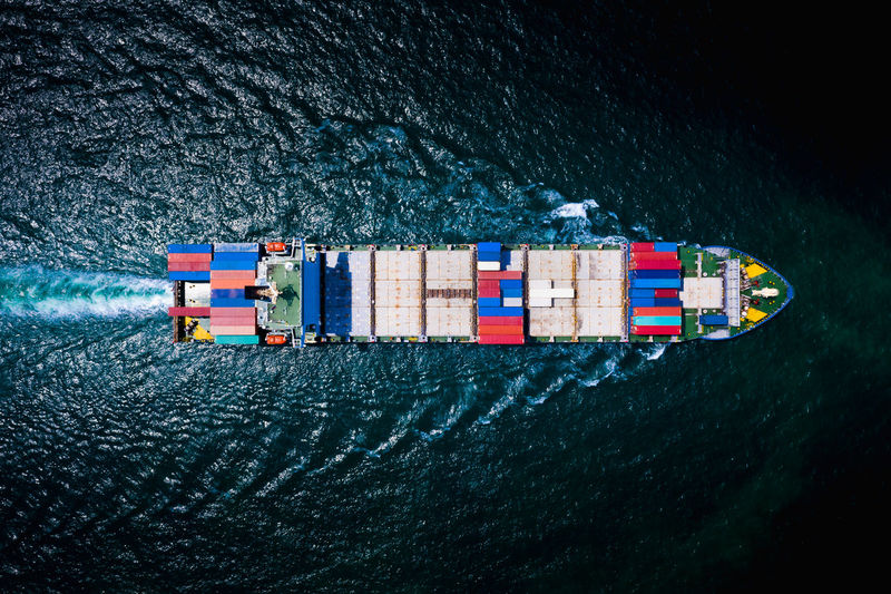 Container cargo ship, business freight shipping international by container cargo ship in the sailing