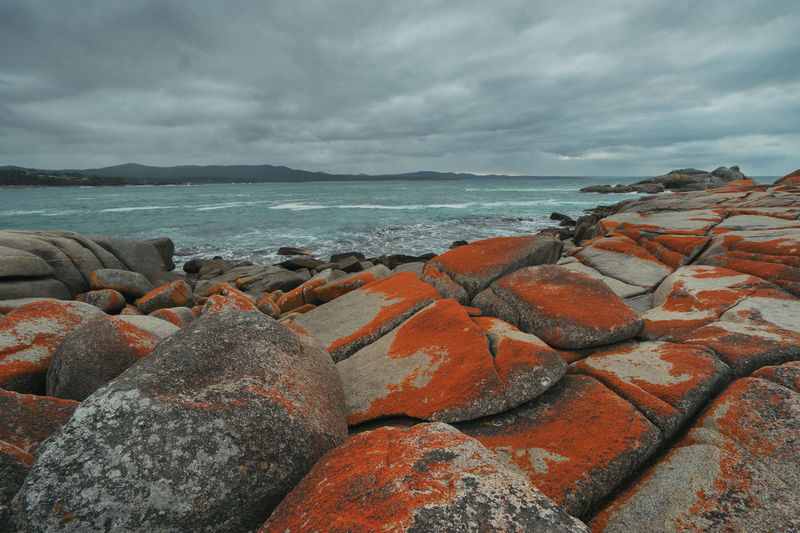 Bay of Fires Tasmania, Australia. Australia Bay Of Fires Binalong Bay Landscape Photography Tasmanian Beach Beauty In Nature Cloud - Sky Day Land Landscape Nature No People Outdoors Overcast Rock Rock - Object Scenics - Nature Sea Sky Solid Tasmania Tranquil Scene Tranquility Water