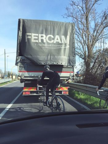 Cycling behind the truck Bike TIR Truck Fercam Running Street Car Check This Out Taking Photos