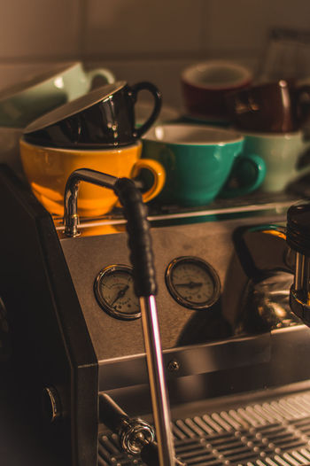 Coffee Espresso Cappuccino Yellow Cups GS3 Bright Colors La Marzocco Indoors  Domestic Room Kitchen Household Equipment Close-up No People Domestic Kitchen Metal Home Still Life Burner - Stove Top Kitchen Utensil Cup Appliance Container Stove Selective Focus Mug Food And Drink Focus On Foreground Saucepan