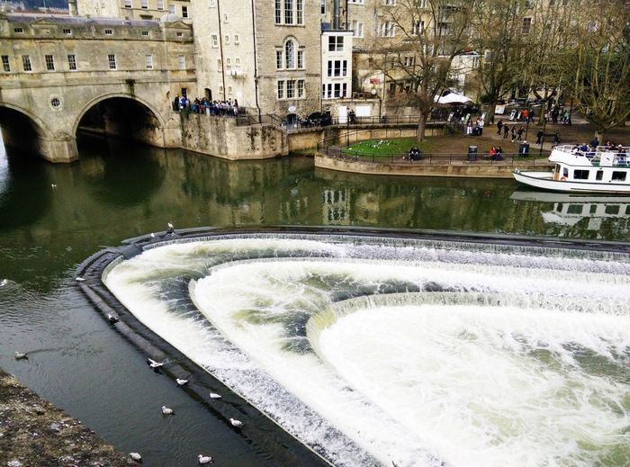 River Avon in Bath Europe Riverside Fun History Tourism Tourist River Roman Uk United Kingdom Bath Water Architecture Built Structure Building Exterior City Transportation Motion Mode Of Transportation Fountain Nature Travel Building Outdoors Arch Bridge Canal Street Day