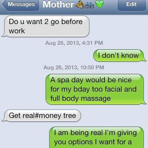 My mom hashtags now ?? Moneytree Icant Fox Bdaygift
